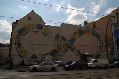 Mobius Strip Mural Tanks and Bulldozers Prague