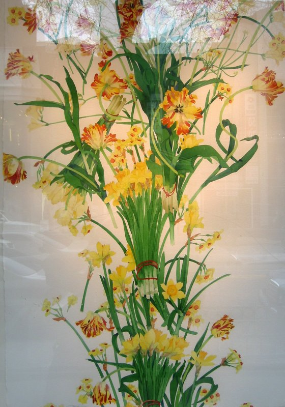 Daffodil Painting - Gallery Window with Reflections