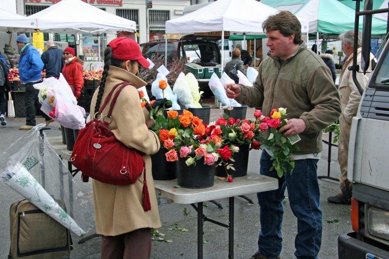 Farmers Market - Selling Roses