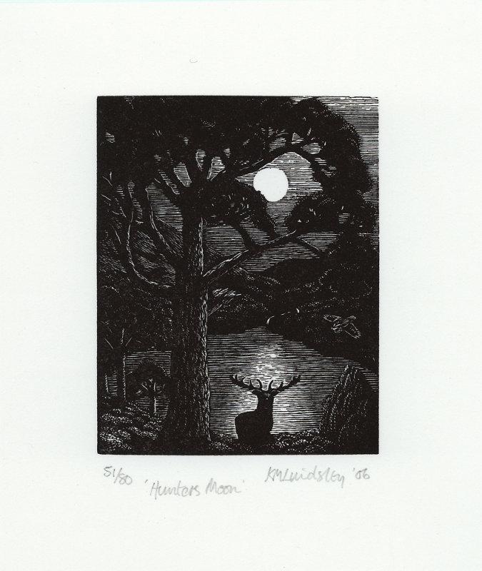 Hunters Moon - by wood engraver Kathleen Lindsley