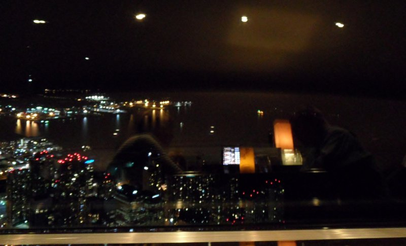 Hey, I can see our reflections in the glass as we look out over Lake Ontario