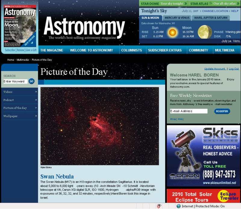 M17 Picture of the Day in Astronomy Magazines Web Site - July 10, 2009