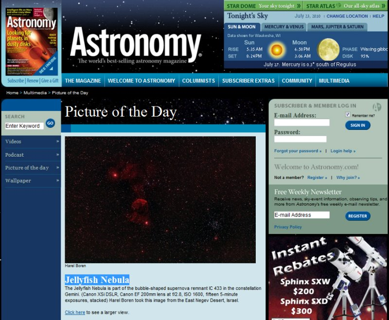 The Jellyfish Nebula Picture of the Day in Astronomy Magazines Web Site - July, 2010