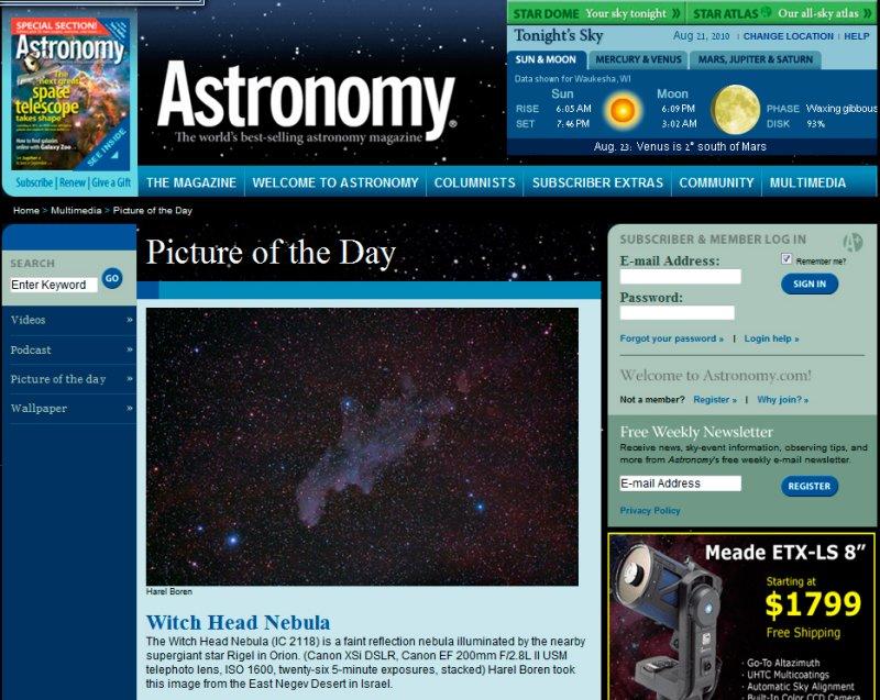 Aug. 20-22.8.2010 Picture of the Day in Astronomy Magazines Web Site - The Witchhead Nebula