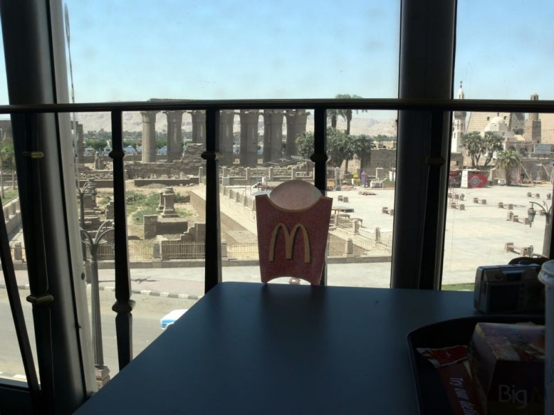 The Temple of Luxor as seen from the perspective of a MacDonalds french fries box