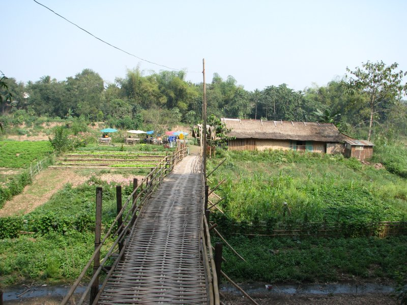 Bamboo Bridge on the Nam River in Luang Prabang