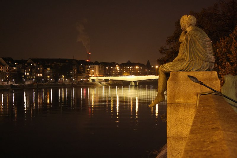 Mother Helvetia is looking along the river Rhein