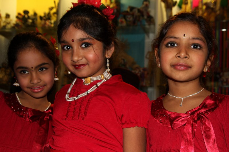 three young performers with the Hindu Temple Rhythms