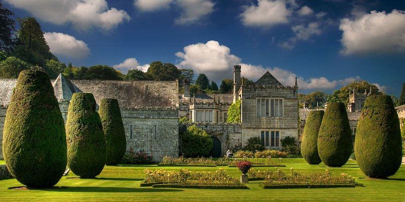 Lanhydrock ~ Yew trees and house (1900)