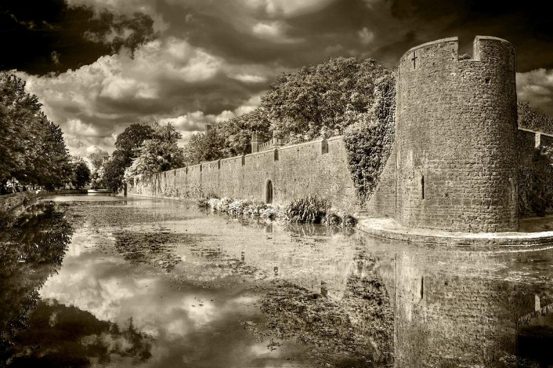 Tower and moat, Wells, Somerset (IR)
