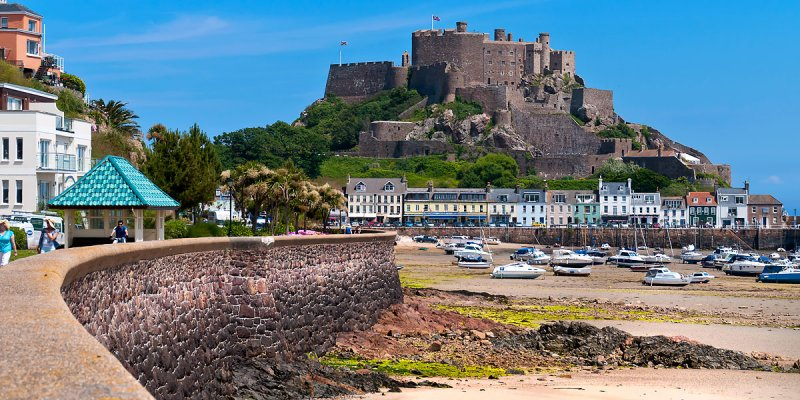 Sea wall and castle, Gorey, Jersey