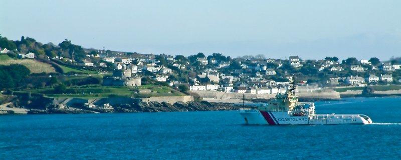 Coastguard vessel passing St. Mawes (3130)