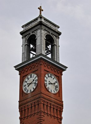 The clock tower at St. Aloysius