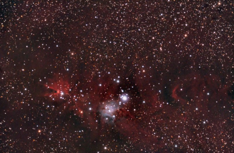 Christmas Tree Cluster, Cone Nebula Wide View