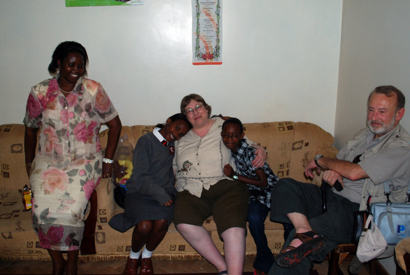 Val, Sarah, Grandma, Nyiva, Grandpa at Kenya High School visiting Sarah