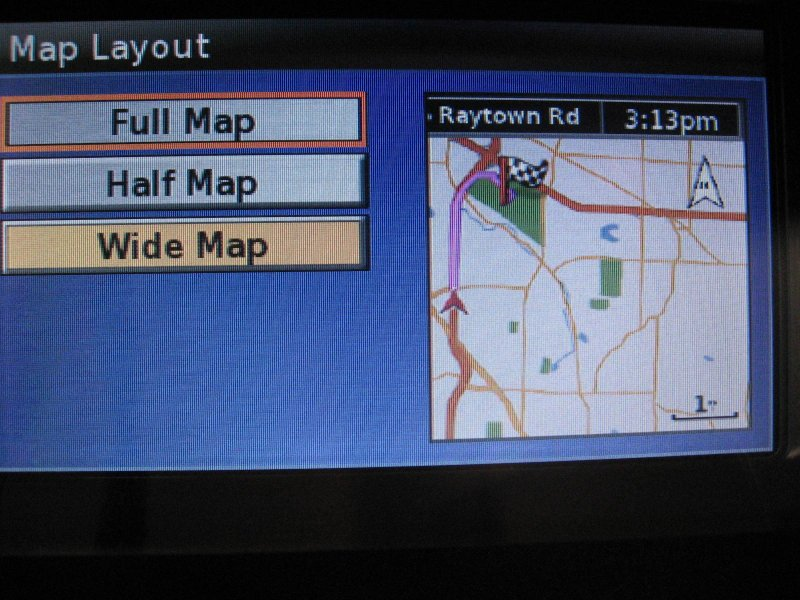 Map layout setup screen, FULL map. Notice that ETA and DIST to destination arent shown on this screen