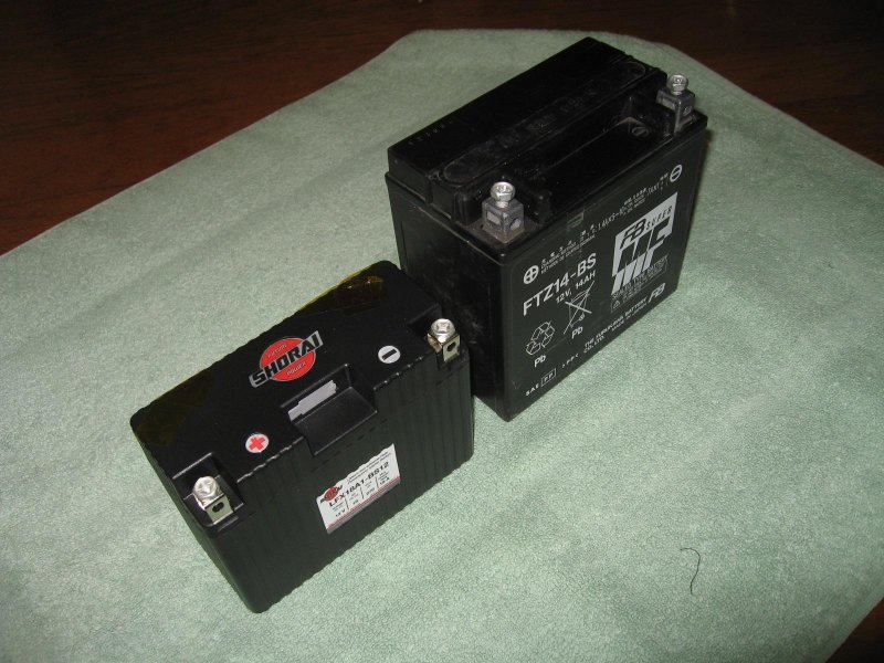 Shorai 18 amp hour battery next to Concours 14 amp hour