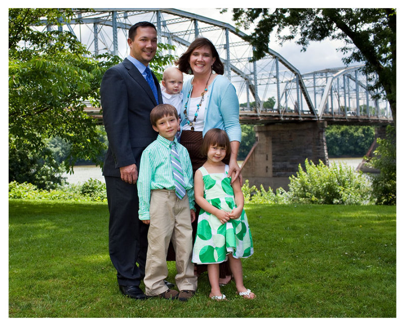 Family Photo by the River Bridge