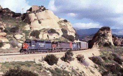 SP freight in Santa Susana Pass - 1984