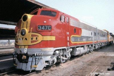 Former Santa Fe F7A #347C/F3B #347B at LAUPT 1989