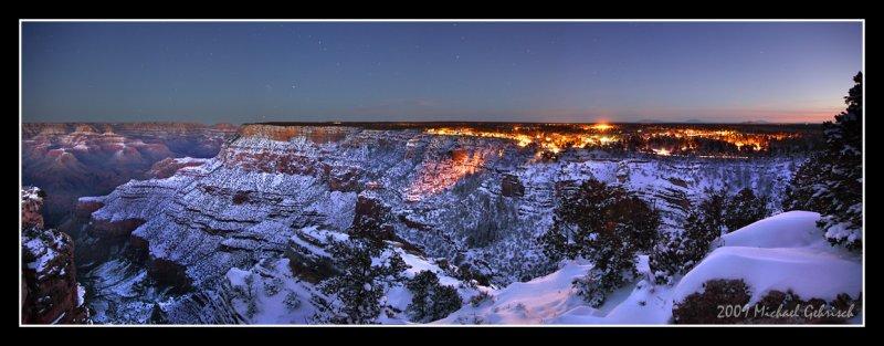 Night falls on Grand Canyon Village