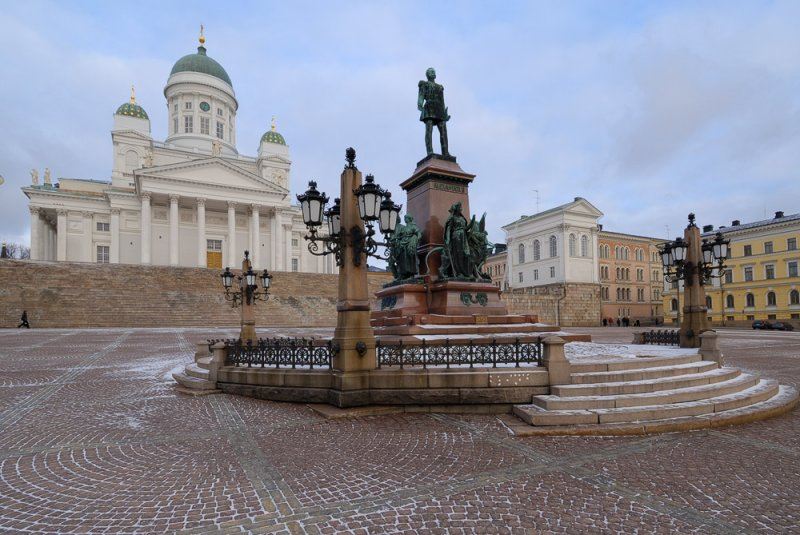 The Statue of  Alexander II and the Helsinki Cathedral