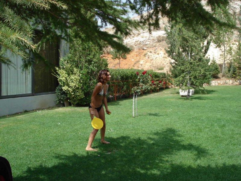 Nainai playing beach ball