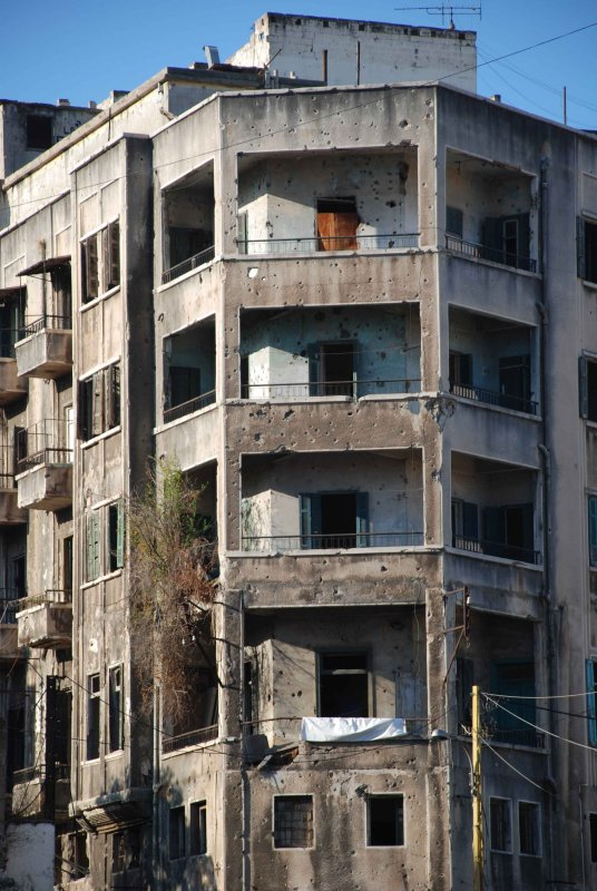 Wounds of the Lebanese civil war.
