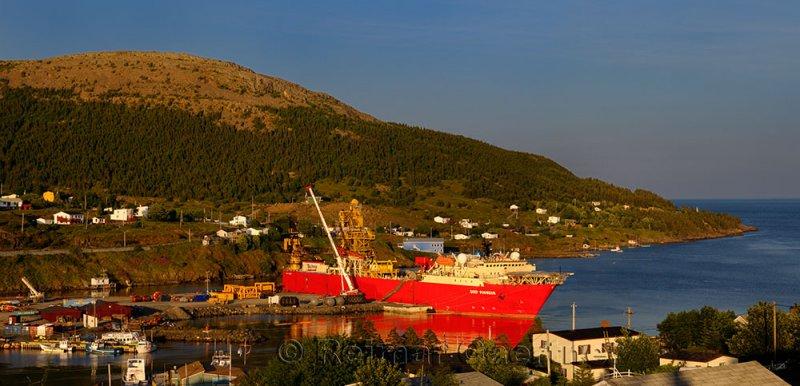 Deep Pioneer ship in Bay Bulls Newfoundland port at sunset