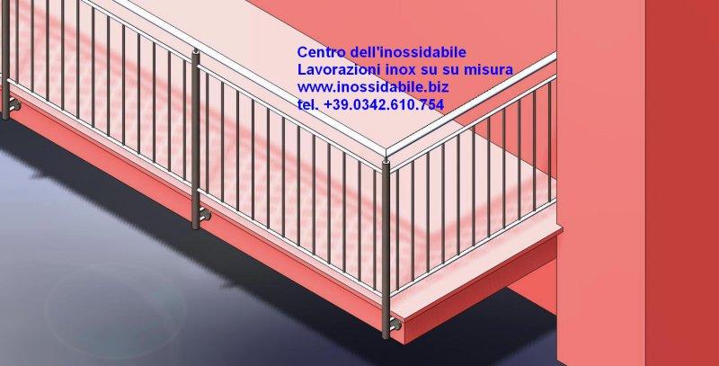 Parapetto terrazza protezione in acciaio inox satinato su misura ...