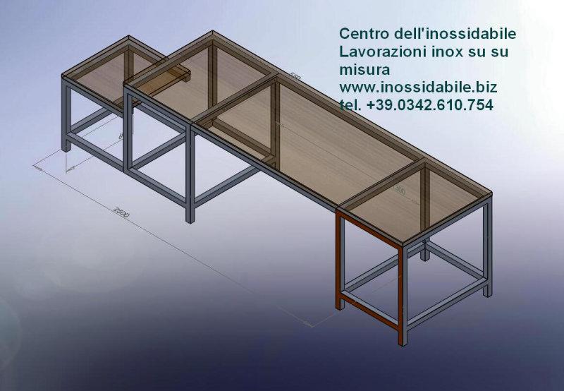 Mobile per casa struttura in acciaio inox con top in legno photo ...