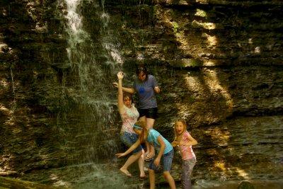 girls playing in falls