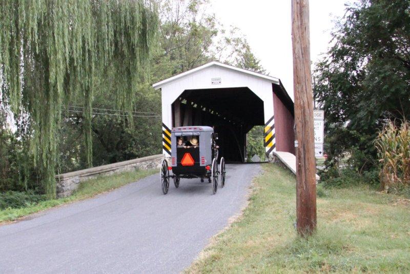 Covered Bridge & Amish Family