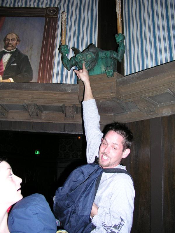 Kitt, um, pointing to the gargoyle...