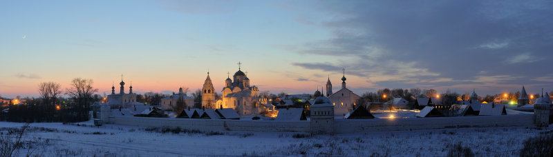 Town of Suzdal. Panorama of Pokrovsky (Intercession) Monastery (founded at 1364)
