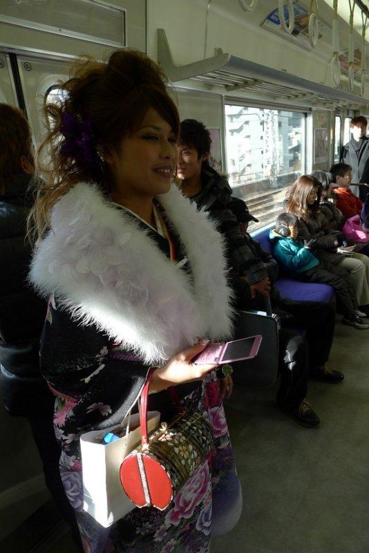 A happy girl in Kimono celebrating adulthood