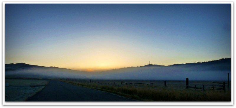 sunrise low fog mist and frost near school