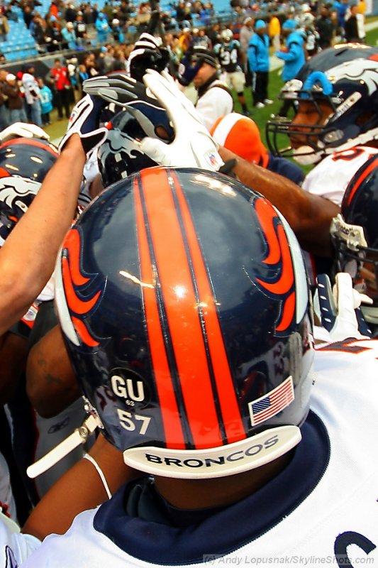 Denver Broncos huddle