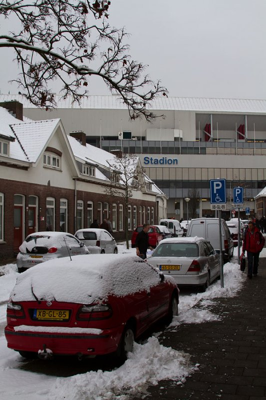 Snowy conditions outside the Philips Stadion