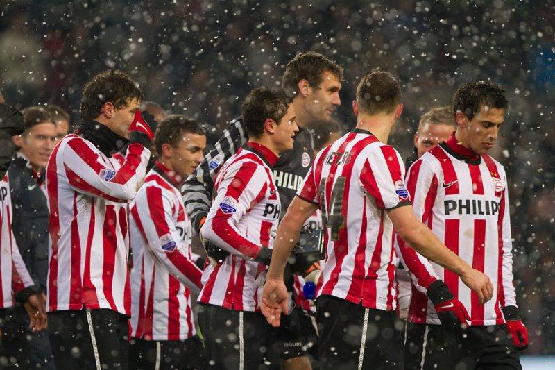 Ibrahim Afellay with his PSV teammates