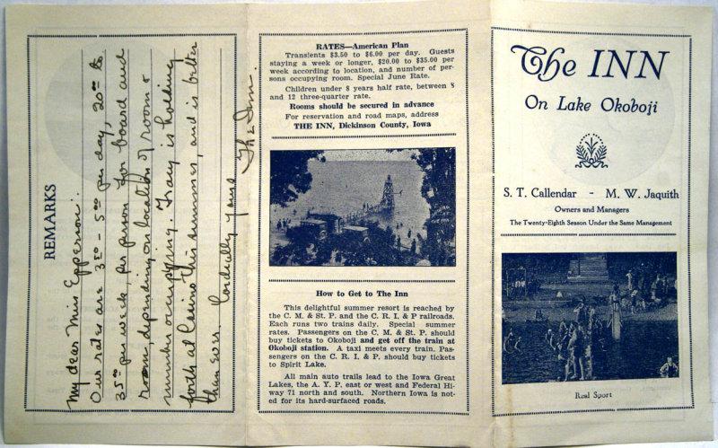 Inn Flyer 1930s