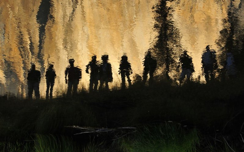 Space Aliens, Flipped in Reflection in the Merced River
