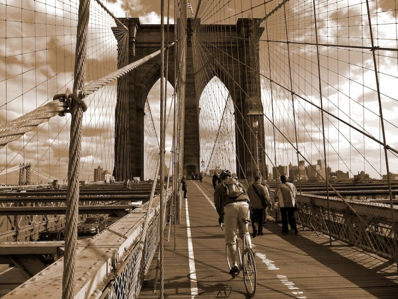Cycling Over the Brooklyn Bridge