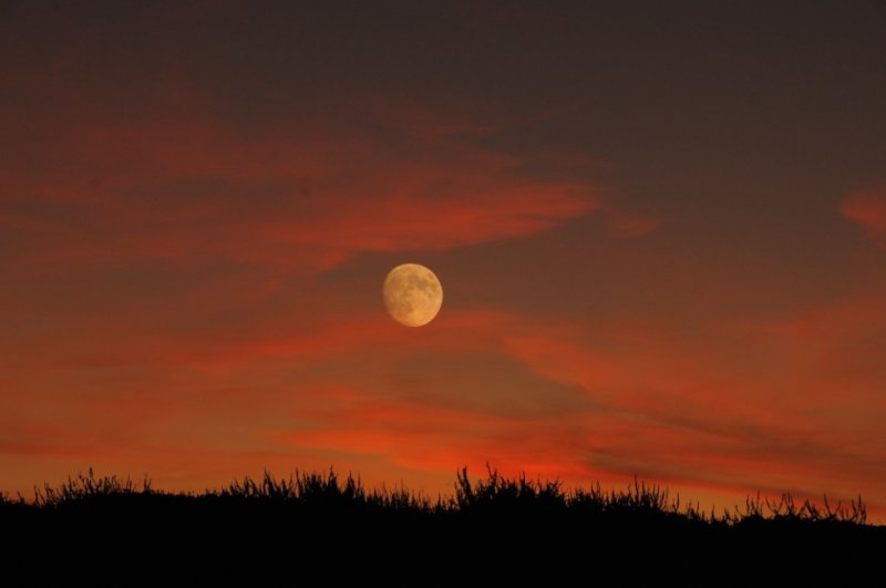 Sunset and Moonrise Near Abbot Lagoon