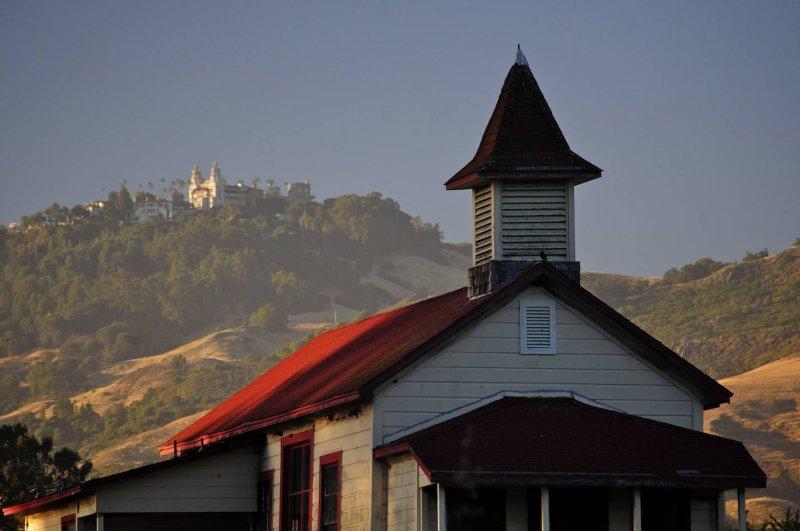 Old School House and Hearst Castle at San Simeon, California