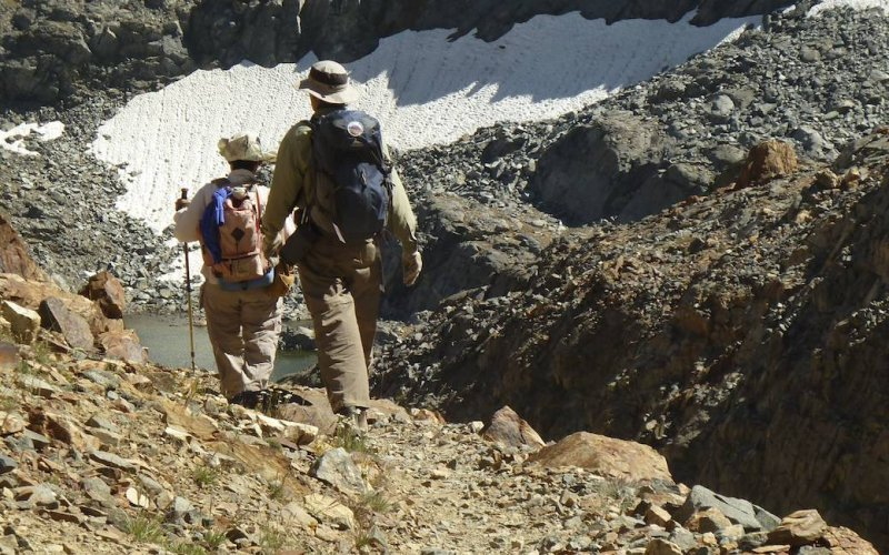 Jim and Debbie approach Little McGee Lake.