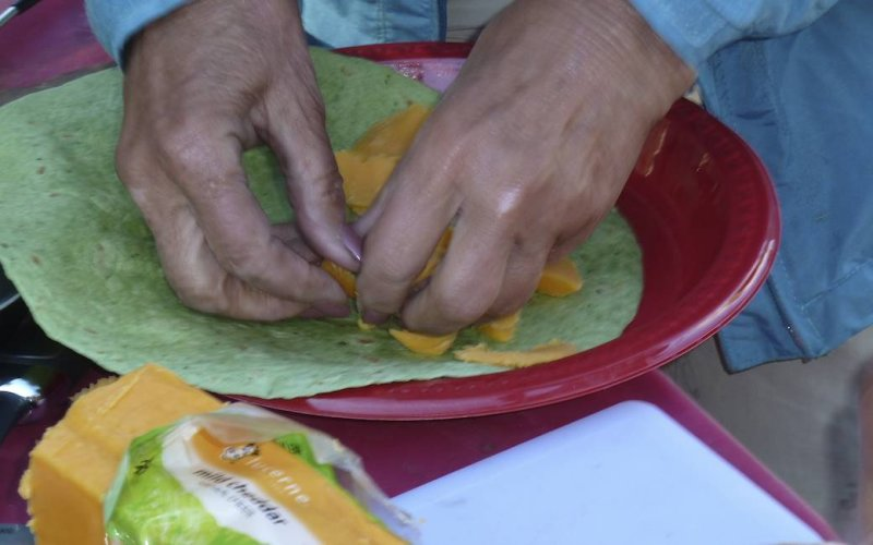 Making a quesadilla.
