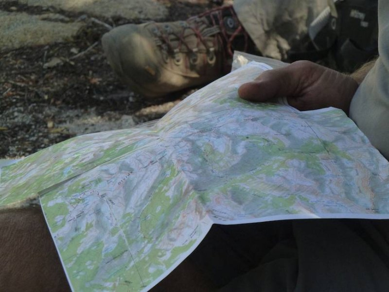 Checking the map at lunch.