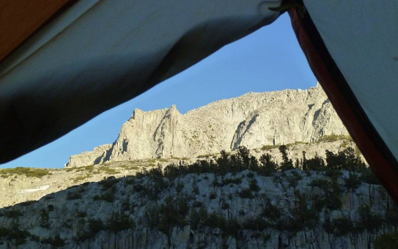 Afternoon light from our tent.