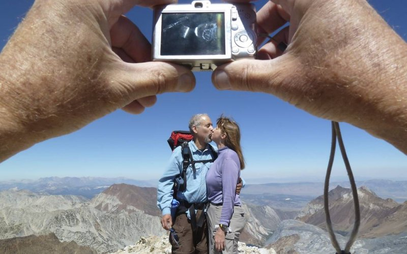 Sandy and Peter enjoy their summit photo.